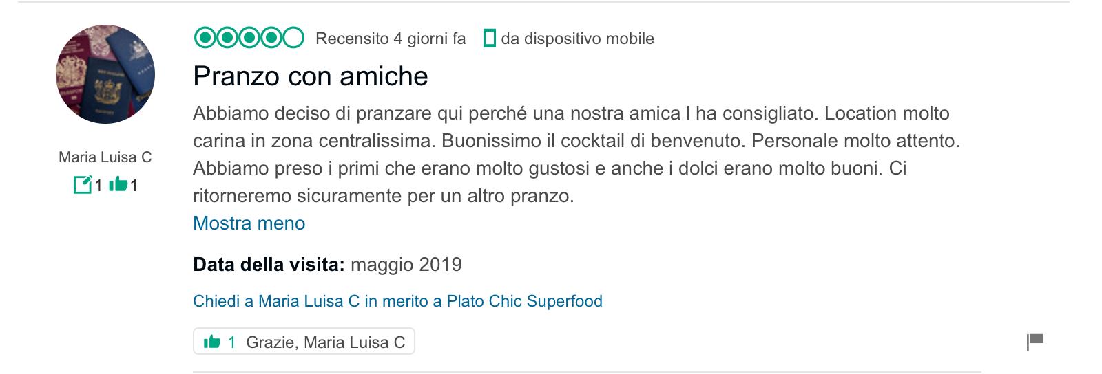 recensione Tripadvisor_Plato